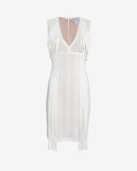 Herve Leger Draped Fringe Sleeveless V Neck Dress