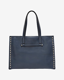 Valentino Rockstud Medium Leather Tote: Indigo