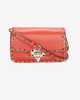Valentino Rockstud Flap Crossbody Bag: Orange