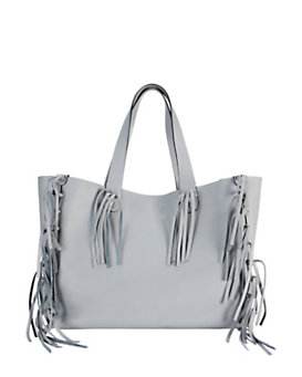 Valentino C Rockee Fringe Leather Tote: Grey
