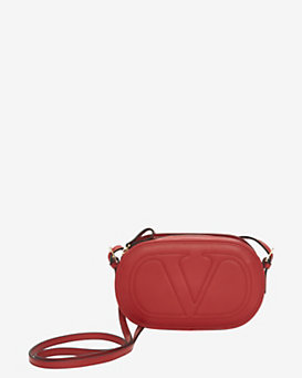 Valentino Embossed V Oval Leather Crossbody: Red