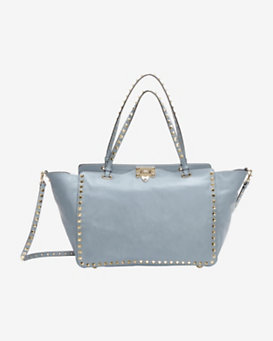 Valentino Rockstud Medium Leather Tote: Grey