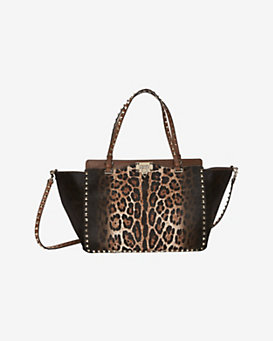 Valentino Rockstud Medium Leopard Print Haircalf Tote