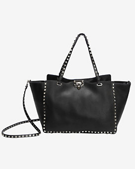 Valentino Rockstud Textured Leather Medium Tote: Black