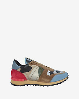 Valentino Rockstud Camo Safari Print Leather Sneakers