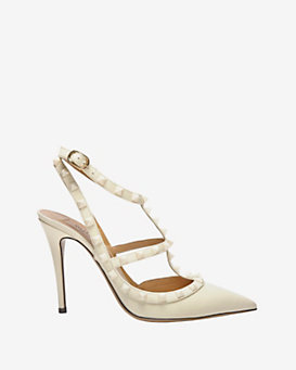 Valentino Punkouture Stiletto Slingback Patent Leather Pump: White