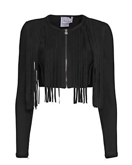 Herve Leger Zip Up Fringe Jacket