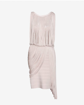 Herve Leger Draped Fringe Bandage Dress: Blush