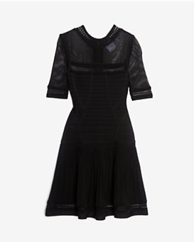 Herve Leger Mesh Detail Short Sleeve Flare Dress: Black