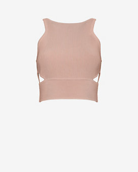 Jonathan Simkhai Cut Out Rib Knit Crop Top