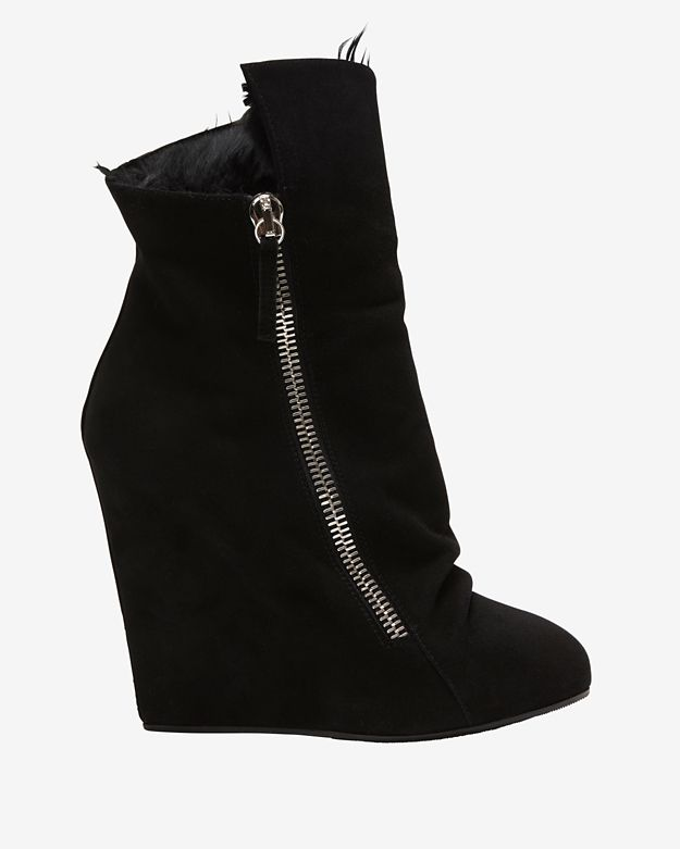 Giuseppe Zanotti Shearling Lined Suede Slouchy Wedge Boot