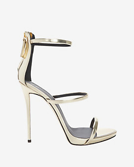 Giuseppe Zanotti Mirrored Leather Triple Strap Hi Sandal