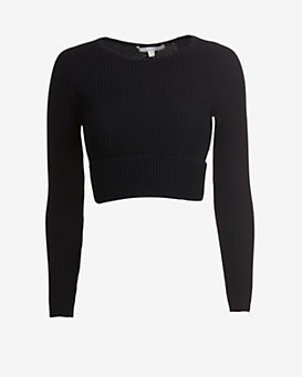 Jonathan Simkhai EXCLUSIVE Long Sleeve Cut Out Rib Knit Crop Top
