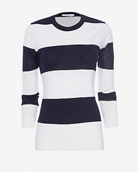 A.L.C. EXCLUSIVE Striped Slit Back Sweater
