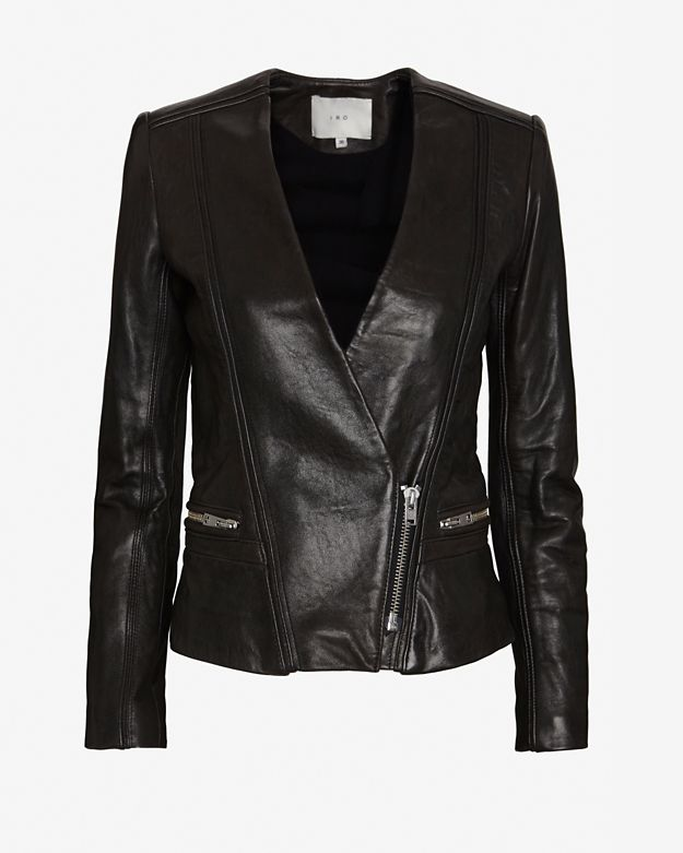 IRO Imael Leather Blazer: Black