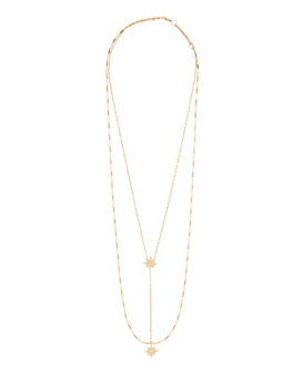 Jennifer Zeuner EXCLUSIVE Diamond Detailed Double Star Lariat Necklace