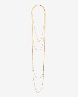 Jennifer Zeuner Diamond Detail Four Layer Chain Necklace