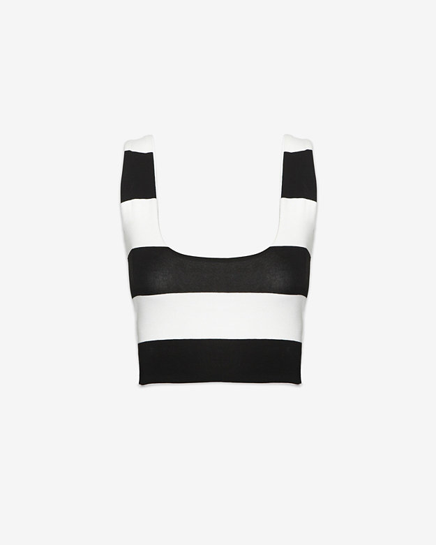 Nadia Tarr EXCLUSIVE Striped Crop Tank Top