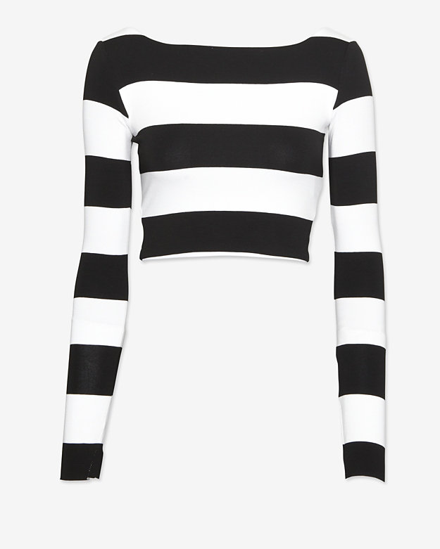 Nadia Tarr EXCLUSIVE Striped Crop Long Sleeve Top