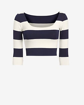 Nadia Tarr EXCLUSIVE Striped Crop Top