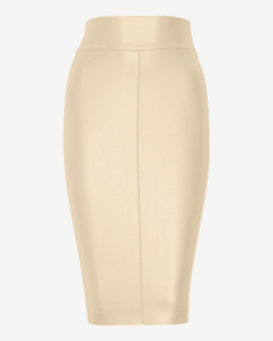 Bailey 44 Leather-Like Pencil Skirt: Nude