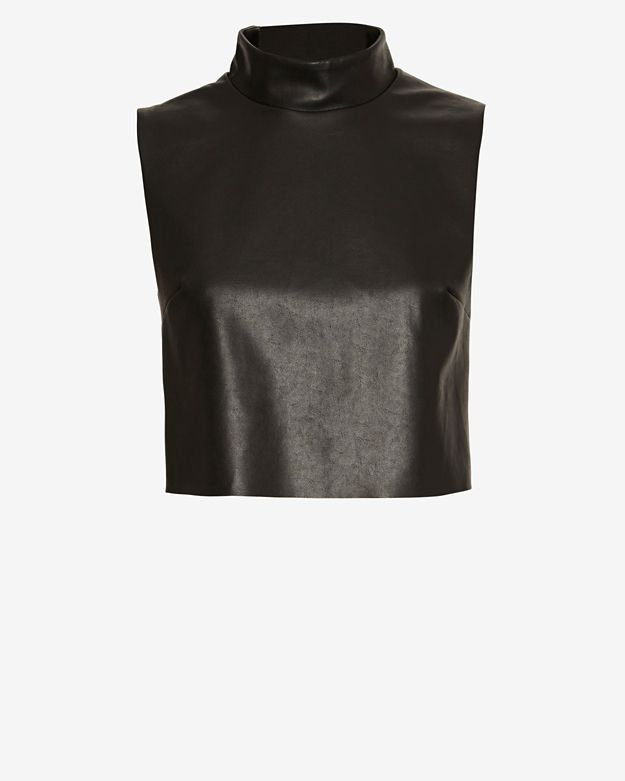 Bailey 44 EXCLUSIVE Mock Neck Leather-Like Crop Top