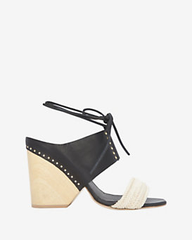 Thakoon EXCLUSIVE Wooden Heel/Raffia/Leather Sandal