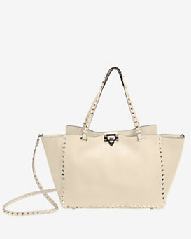 Valentino Rockstud Medium Classic Grainy Leather Tote: Ivory