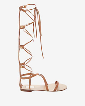 Valentino Flat Knee High Gladiator Sandal