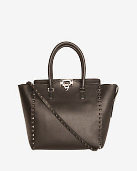 Valentino Rockstud Double Handle Tote: Noir