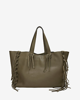 Valentino Pebbled Leather Fringe Tote: Army Green