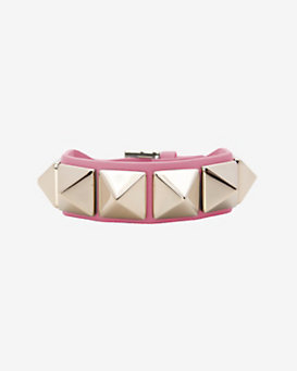 Valentino Va Va Voom Rockstud Leather Belt Bracelet: Bubblegum