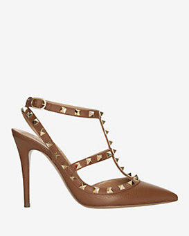 Valentino Rockstud Pebbled Leather Cage Pump: Tan
