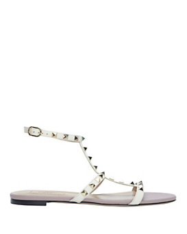 Valentino Rockstud Patent Leather Ankle Strap Flat Sandal