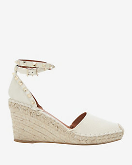 Valentino Rockstud Ankle Strap wedge Espadrille: Ivory