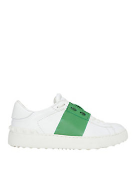 Valentino Green Stripe Leather Sneaker
