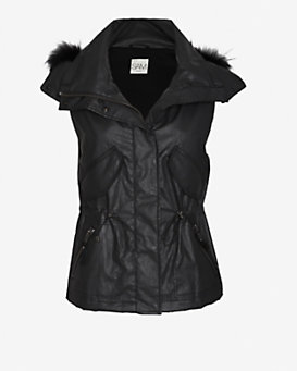 SAM EXCLUSIVE Hooded Raccoon Fur Trim Vest: Black