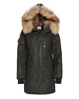 SAM Fur Trim Hooded Double Downtown Parka: Black