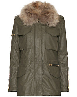 SAM Kate Rabbit/Raccoon Fur Army Jacket
