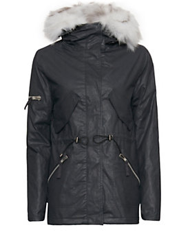 SAM Fox Fur Lined Highline Short Jacket: Navy