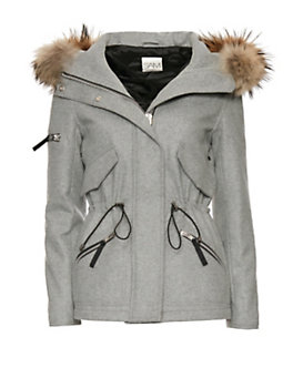 SAM Delancy Fur Trim Felt Parka: Grey