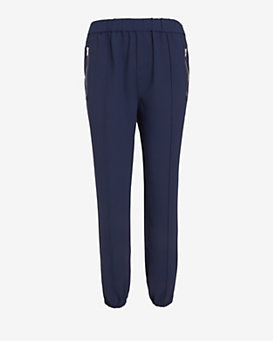 Joie Zipper Crepe Pants: Navy