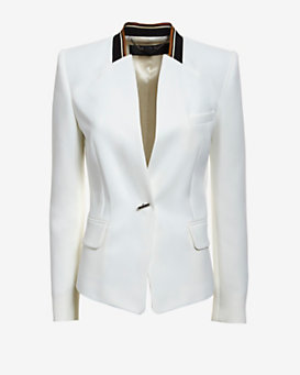 Barbara Bui Striped Knit Collar Blazer