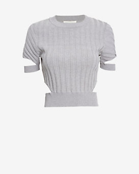 Jonathan Simkhai Ribbed Crop Cutout Top