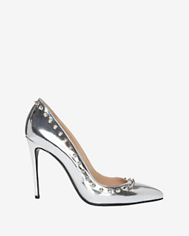 Barbara Bui Spiked Edge Mirrored Leather Pump