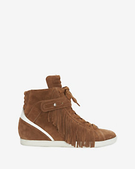 Barbara Bui Fringe Lace-Up Suede Sneaker