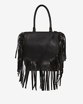 Barbara Bui Fringe Flap Shoulder/Backpack Bag: Black