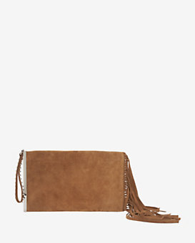 Barbara Bui Mama Fringe Zip Clutch: Brown