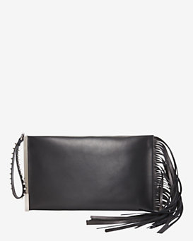 Barbara Bui EXCLUSIVE Mama Fringe Zip Clutch: Black