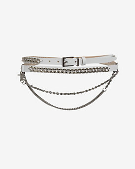 Barbara Bui Curb Chain Detail Leather Wrap Belt